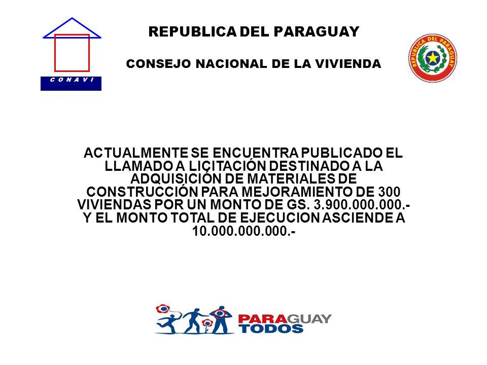 REPUBLICA DEL PARAGUAY CONSEJO NACIONAL DE LA VIVIENDA C O N A V I ACTUALMENTE SE ENCUENTRA PUBLICADO EL LLAMADO A LICITACIÓN DESTINADO A LA ADQUISICI