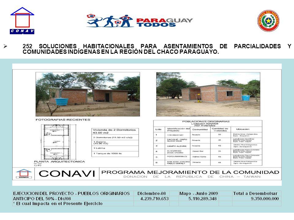 252 SOLUCIONES HABITACIONALES PARA ASENTAMIENTOS DE PARCIALIDADES Y COMUNIDADES INDÍGENAS EN LA REGIÓN DEL CHACO PARAGUAYO. C O N A V I
