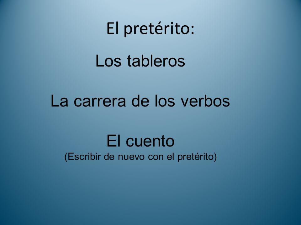El pretérito: Los tableros La carrera de los verbos El cuento (Escribir de nuevo con el pretérito)