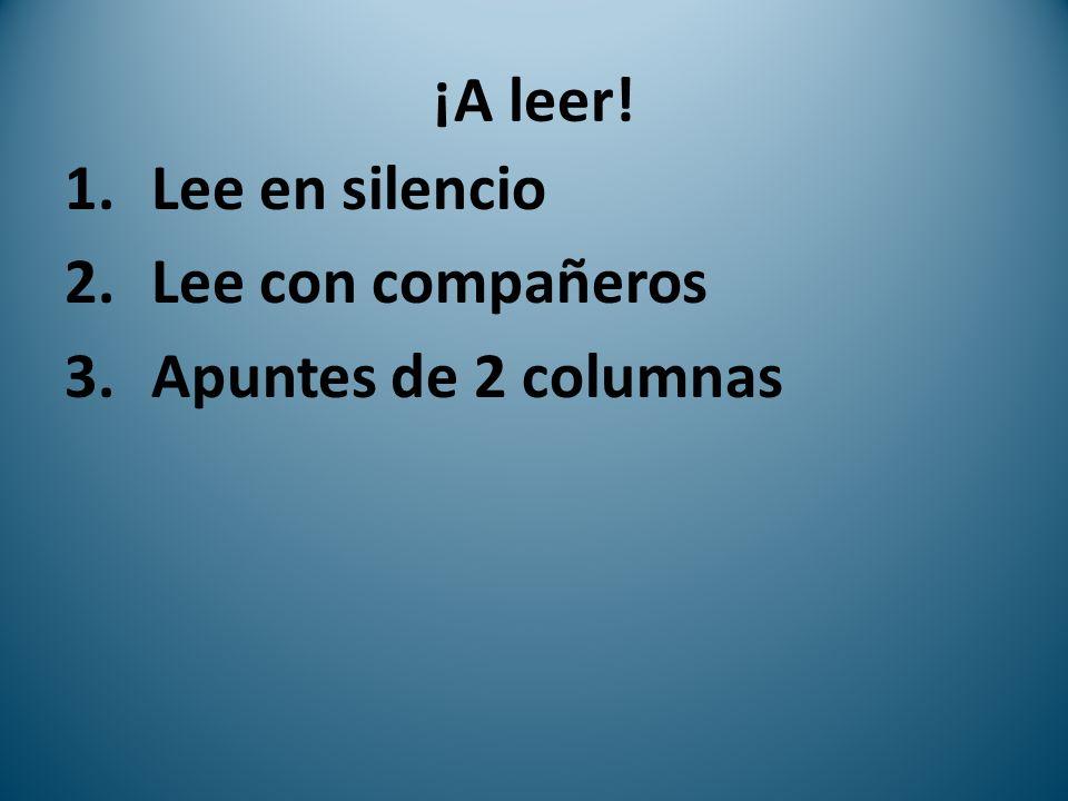 ¡A leer! 1.Lee en silencio 2.Lee con compañeros 3.Apuntes de 2 columnas