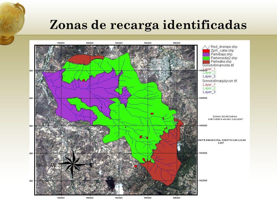 Zonas de recarga identificadas