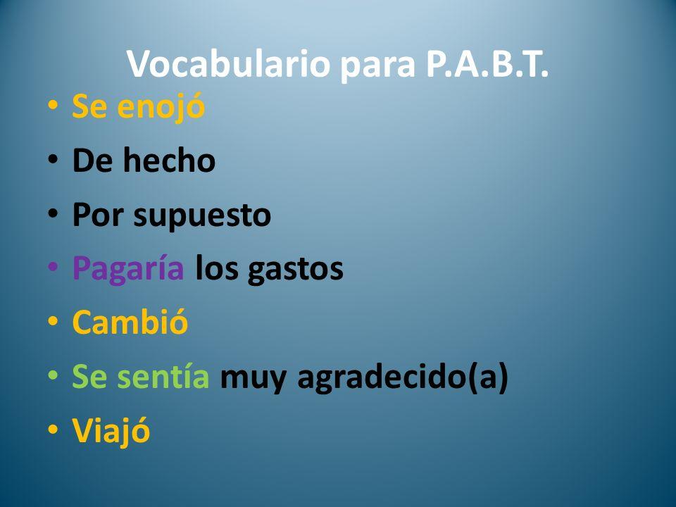 Vocabulario para P.A.B.T.