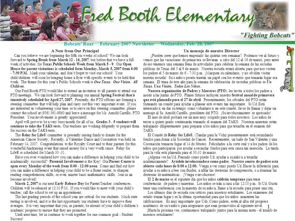 1 Bobcats Roar February 2007 Newsletter Wednesday, Feb.