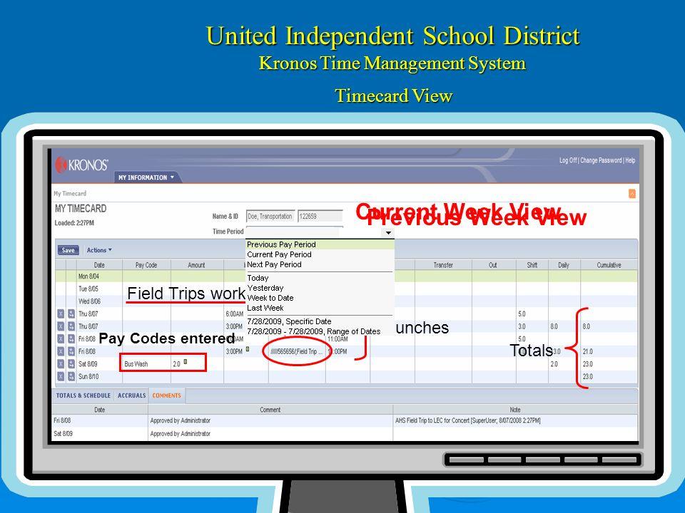 United Independent School District Kronos Time Management System Funciones ¿Cómo puedo yo : Ver mi TARJETA DE MARCA ? Incopore su # de empleado Incopo