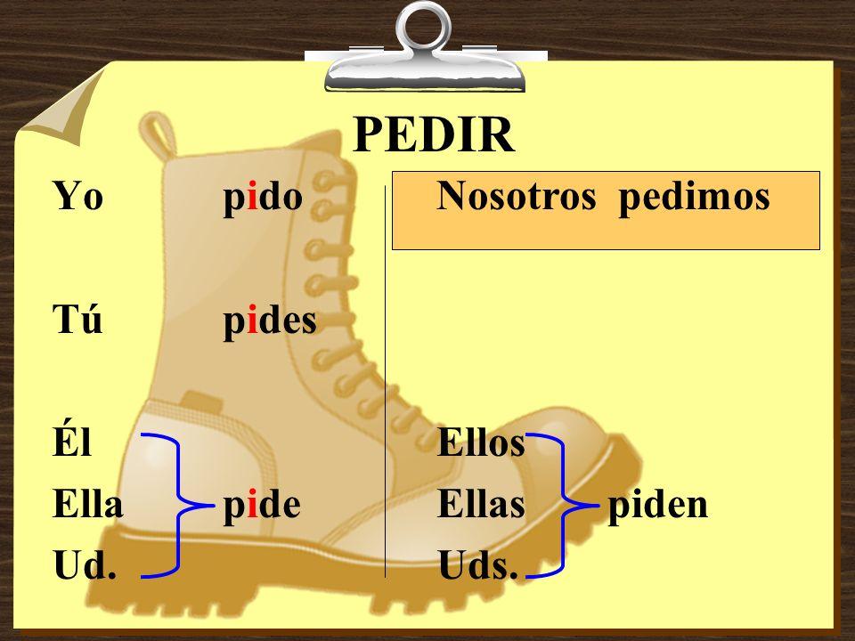 E > I 1.Servir to serve 2.Repetir to repeat 3.Pedir to ask for