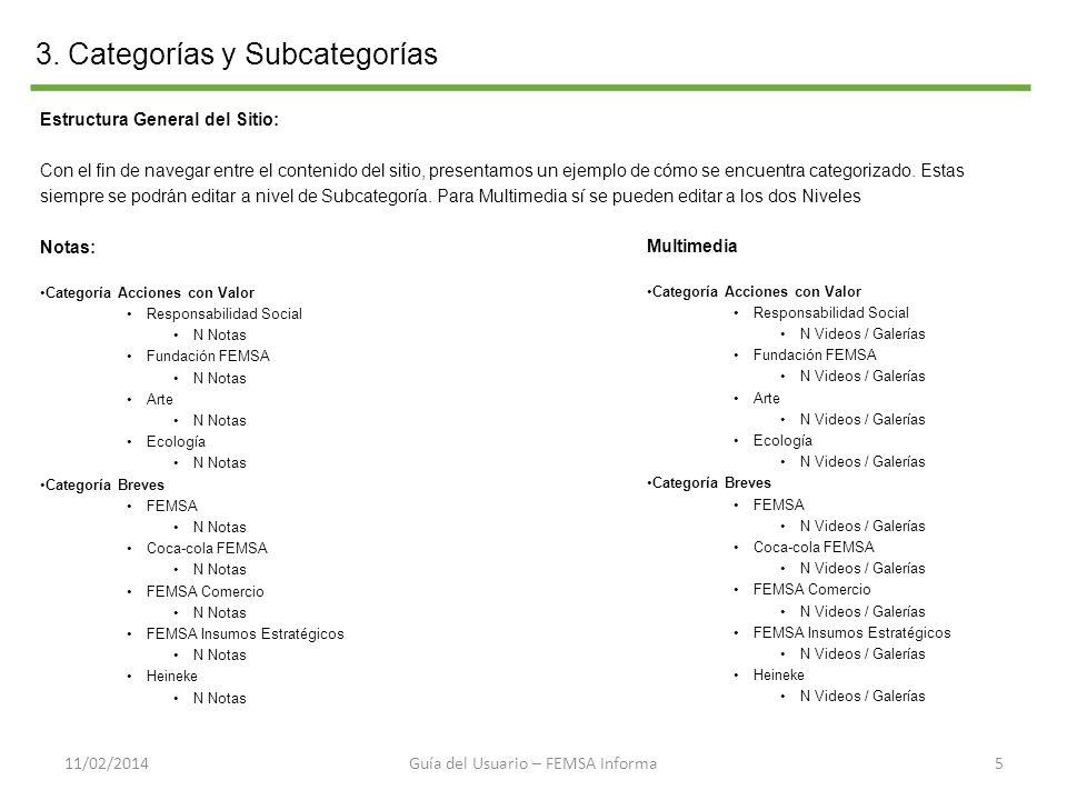 3. Categorías y Subcategorías 511/02/2014 Estructura General del Sitio: Con el fin de navegar entre el contenido del sitio, presentamos un ejemplo de