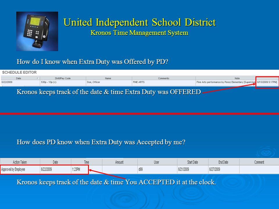 United Independent School District Kronos Time Management System ¿Como se refleja la actividad en mi tarjeta de marca.