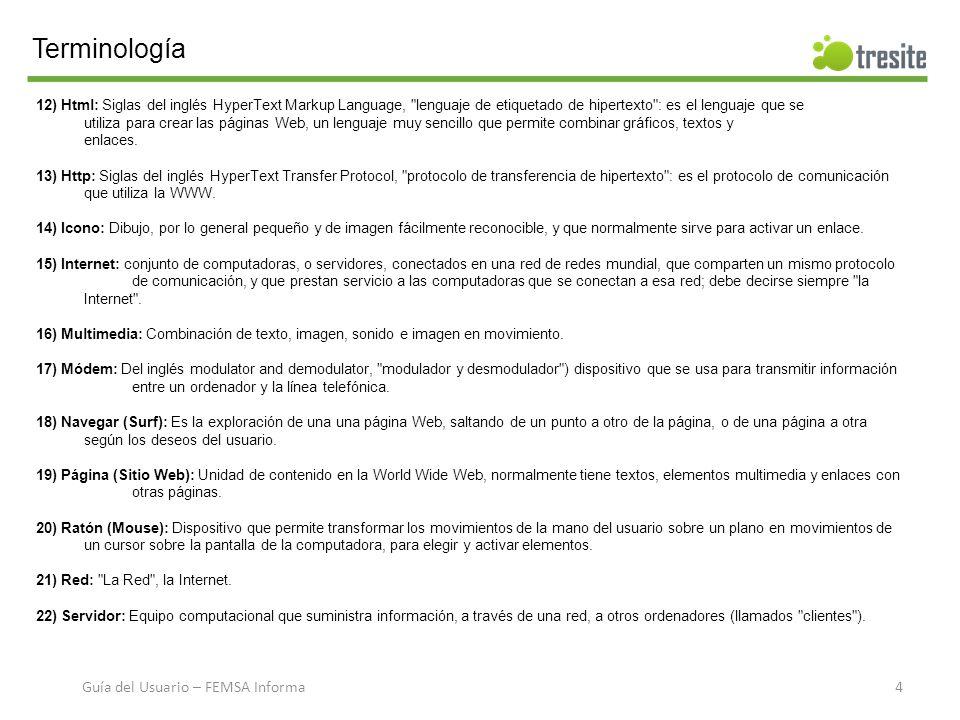 Terminología 23) Sitio Web: Traducción del inglés Web site, conjunto de páginas de una institución o persona.