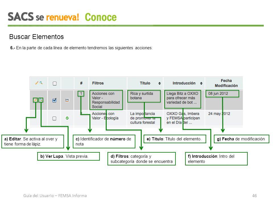 Buscar Elementos 6.- En la parte de cada línea de elemento tendremos las siguientes acciones: a) Editar.