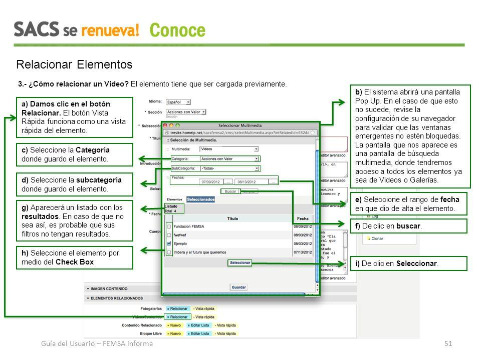 Relacionar Elementos a) Damos clic en el botón Relacionar.