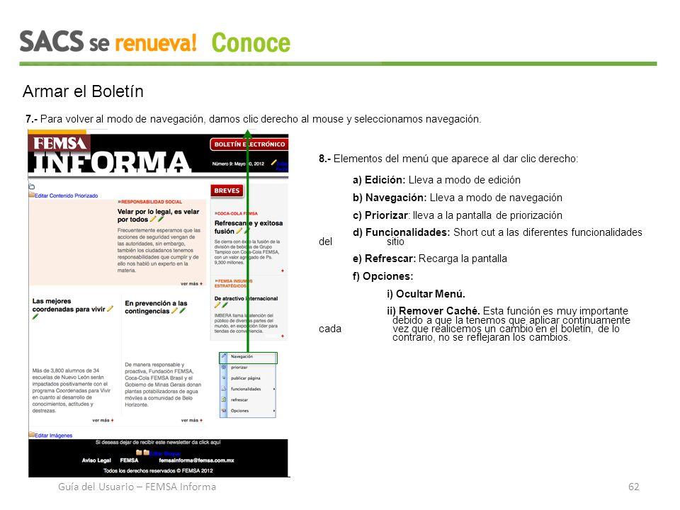 Armar el Boletín 7.- Para volver al modo de navegación, damos clic derecho al mouse y seleccionamos navegación.