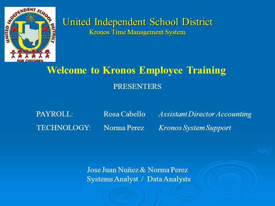 United Independent School District Kronos Clock Function Keys Numeric Keypad Enter Key Enter Key Biometric Scanner Display Screen