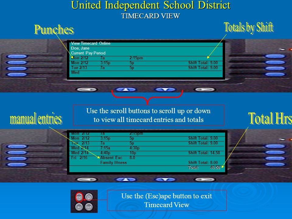 United Independent School District Kronos Time Management System Note: The KEY to using Kronos is Your Employee# -and- Finger Scan View Timecard Onlin
