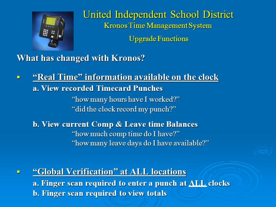 United Independent School District Kronos Time Management System ¿Que es Kronos ? Kronos es el sistema de rastreo de tiempo de UISD. Kronos es el sist