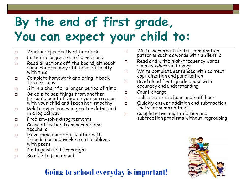 Lo que los padres pueden hacer para ayudar a sus hijos a estar preparados para el primer grado escolar: Utilice el verano para prepararse usted y su hijo: Saque libros de la librería sobre el ir al primer grado Practique con su hijo/a algunas de las habilidades académicas para ayudarle a comenzar primer año escolar Hable con su hijo/a sobre el nuevo año escolar y discuta con el/alla en una manera positiva todas las habilidades que el podrá hacer en su nuevo año escolar Dele a su hijo/a trabajos de artes manuales y deje que el/ella resuelva los problemas por si mismo con poca ayuda suya Empiece la rutina de la noche un mes en anticipación para ayudarle a su hijo/a que se acostumbre a los hábitos de ir a la cama temprano Vaya a las reuniones de comienzo de año y conozca a su maestro Familiarícese con el plan de estudio del primer grado ¡Ir a la escuela todos los días es importante!