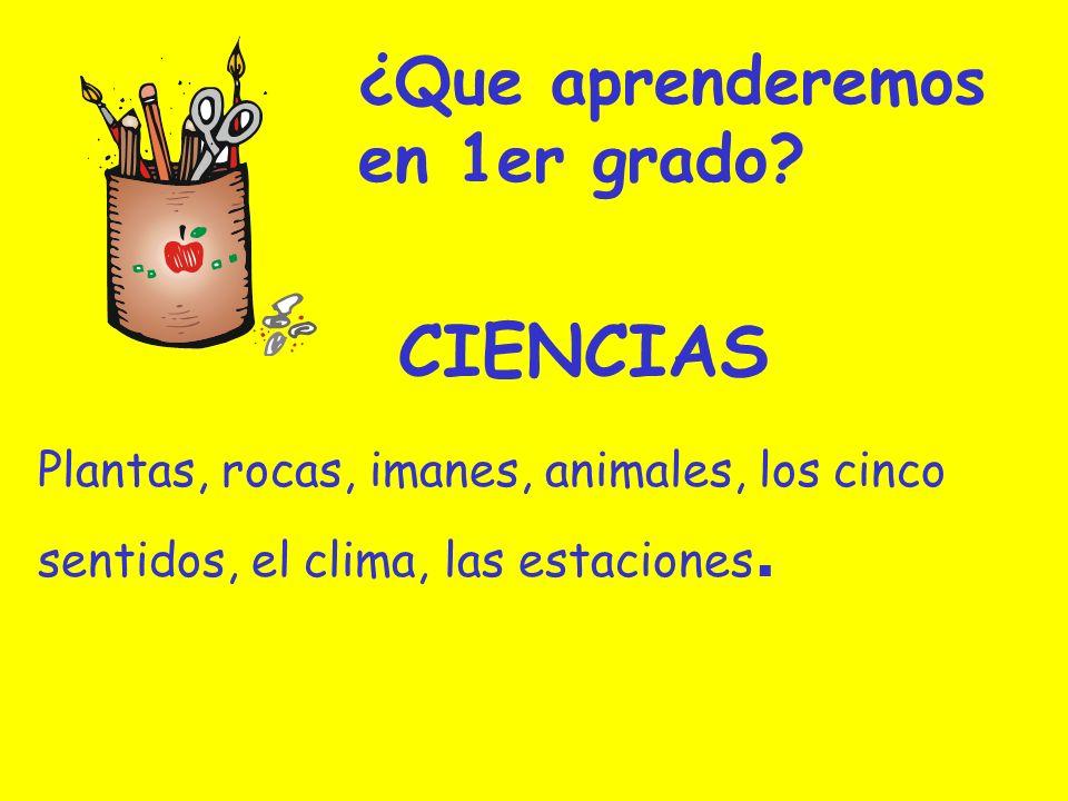 ¿Que aprenderemos en 1er grado? Plantas, rocas, imanes, animales, los cinco sentidos, el clima, las estaciones. CIENCIAS