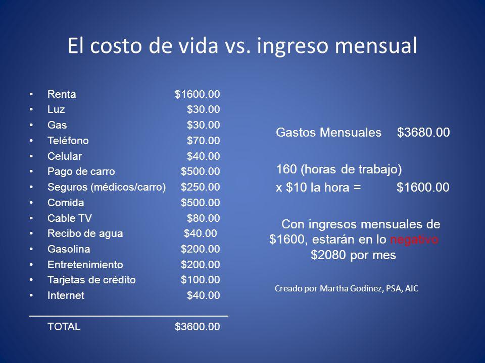 El costo de vida vs.