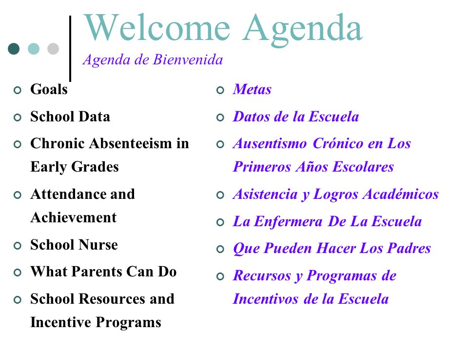 Welcome Agenda Agenda de Bienvenida Goals School Data Chronic Absenteeism in Early Grades Attendance and Achievement School Nurse What Parents Can Do