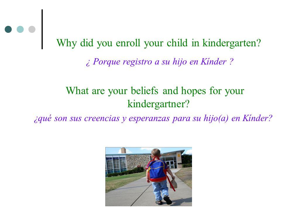 Why did you enroll your child in kindergarten. ¿ Porque registro a su hijo en Kínder .