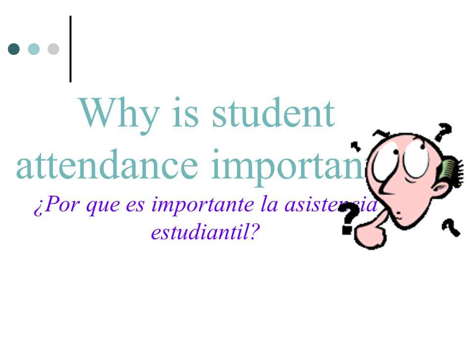 Why is student attendance important? ¿Por que es importante la asistencia estudiantil?