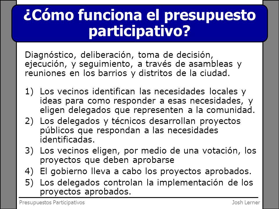 Josh LernerPresupuestos Participativos ¿Cómo funciona el presupuesto participativo? Diagnóstico, deliberación, toma de decisión, ejecución, y seguimie