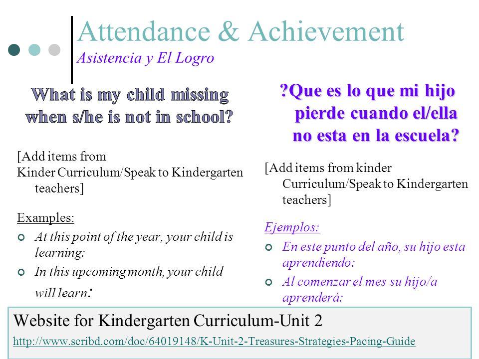 Attendance & Achievement Asistencia y El Logro ?Que es lo que mi hijo pierde cuando el/ella no esta en la escuela? [Add items from kinder Curriculum/S