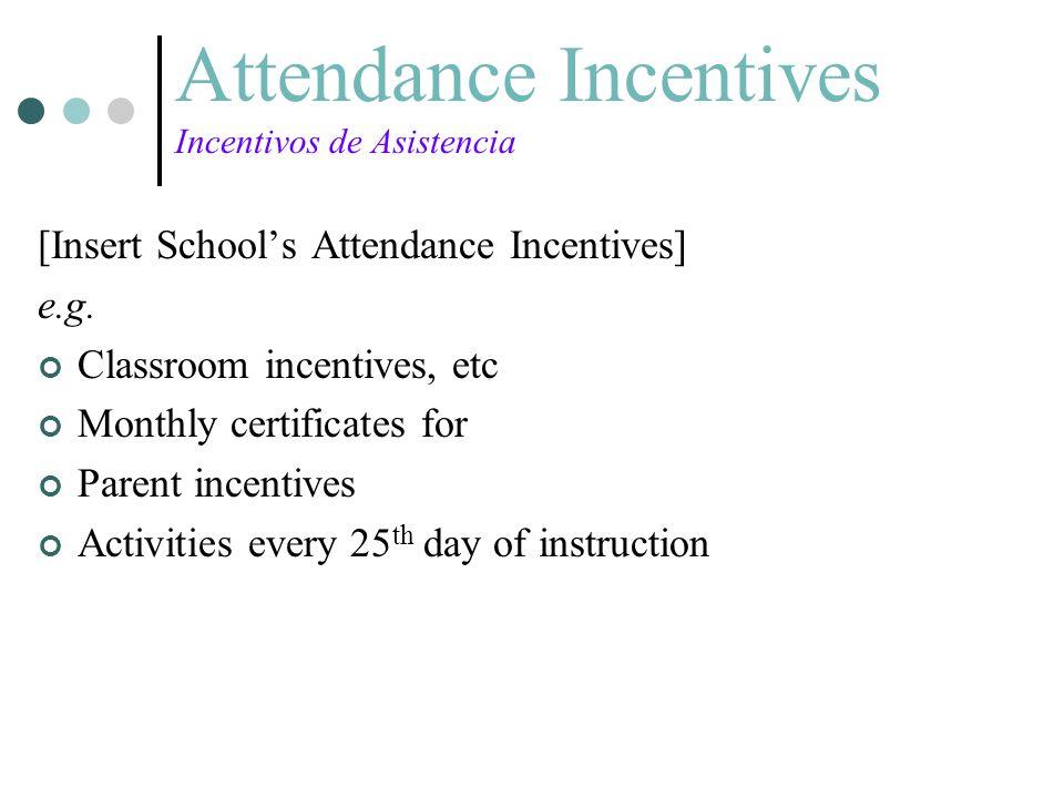 Attendance Incentives Incentivos de Asistencia [Insert Schools Attendance Incentives] e.g. Classroom incentives, etc Monthly certificates for Parent i