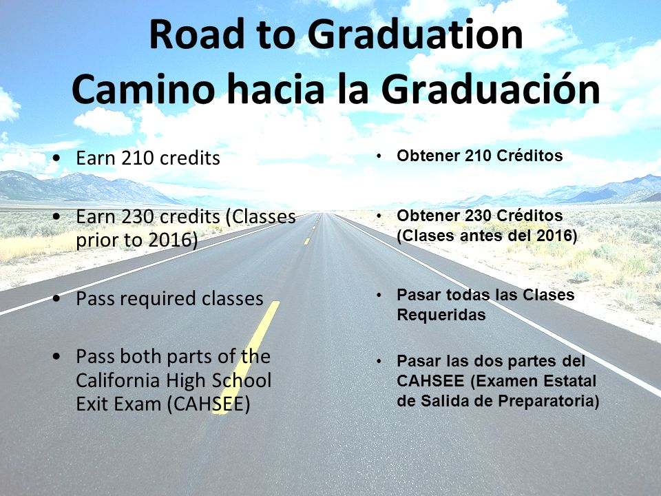 Road to Graduation Camino hacia la Graduación Earn 210 credits Earn 230 credits (Classes prior to 2016) Pass required classes Pass both parts of the California High School Exit Exam (CAHSEE) Obtener 210 Créditos Obtener 230 Créditos (Clases antes del 2016) Pasar todas las Clases Requeridas Pasar las dos partes del CAHSEE (Examen Estatal de Salida de Preparatoria)