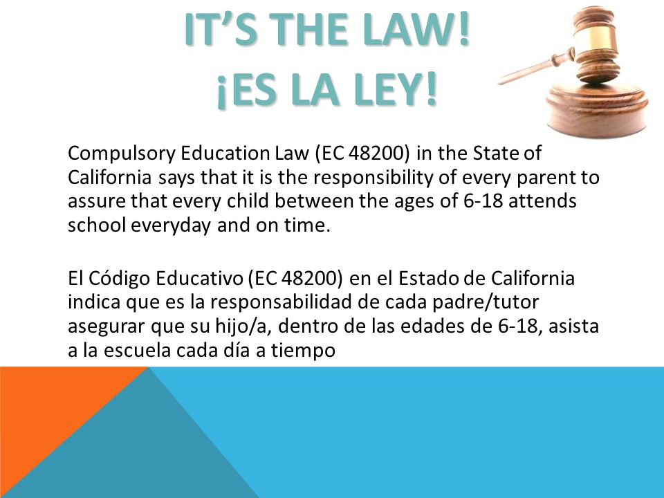 ITS THE LAW.¡ES LA LEY.