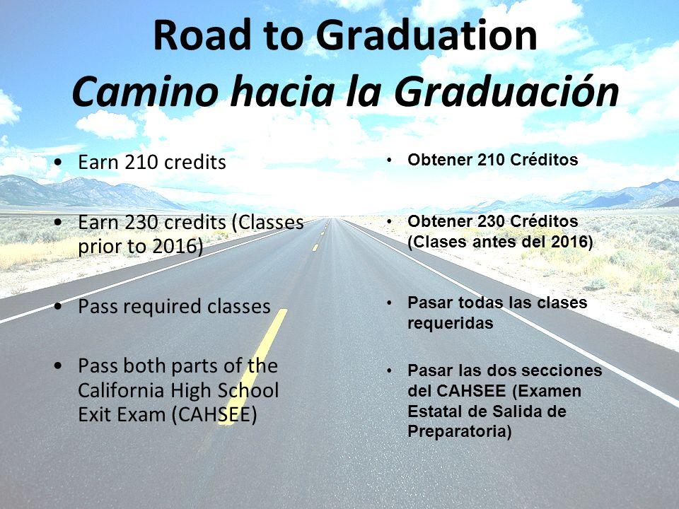 Road to Graduation Camino hacia la Graduación Earn 210 credits Earn 230 credits (Classes prior to 2016) Pass required classes Pass both parts of the C