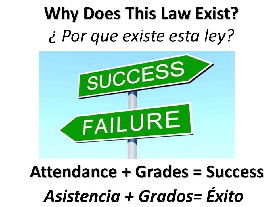 Attendance + Grades = Success Asistencia + Grados= Éxito Why Does This Law Exist? ¿ Por que existe esta ley?