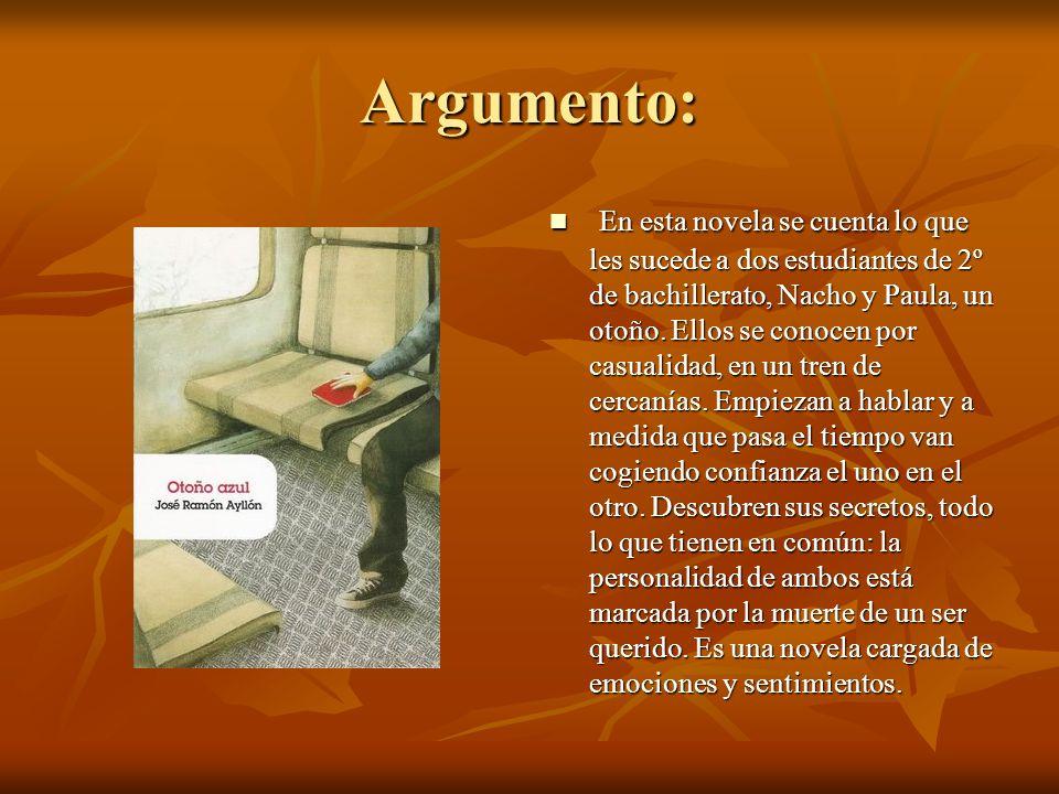 Argumento: En esta novela se cuenta lo que les sucede a dos estudiantes de 2º de bachillerato, Nacho y Paula, un otoño.
