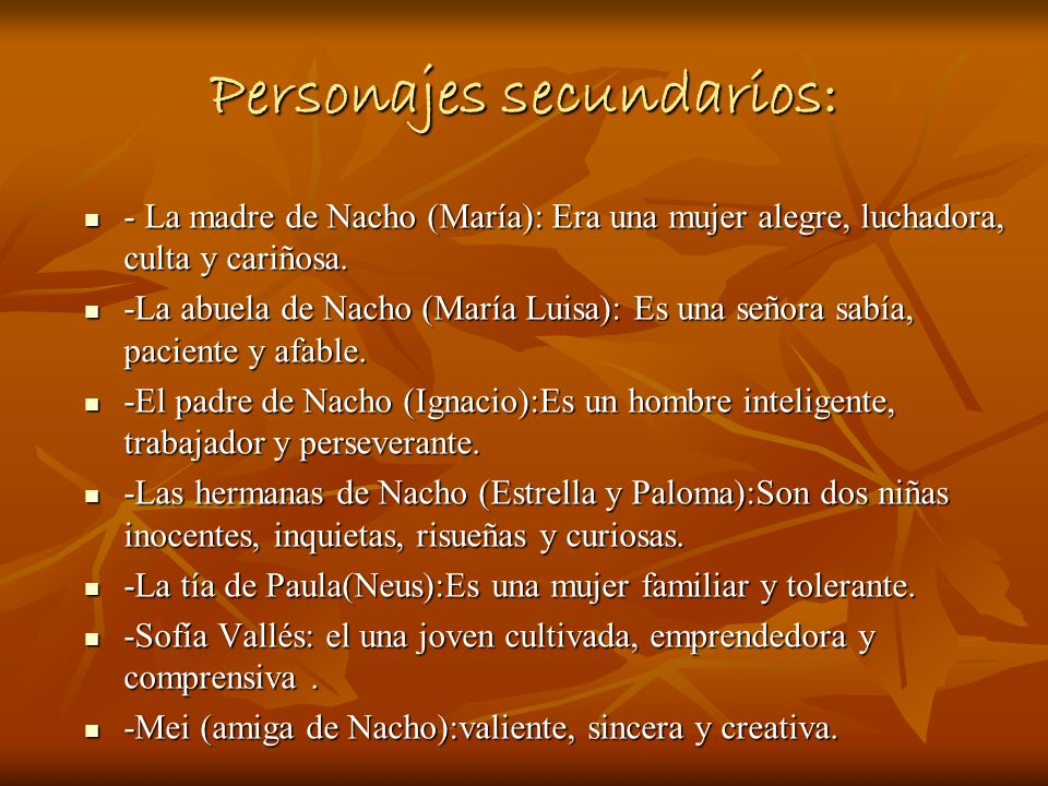 Personajes secundarios: - La madre de Nacho (María): Era una mujer alegre, luchadora, culta y cariñosa. - La madre de Nacho (María): Era una mujer ale