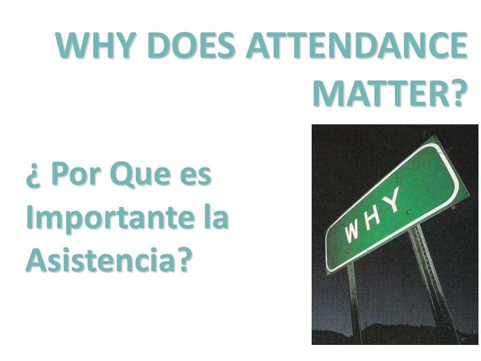 WHY DOES ATTENDANCE MATTER? ¿ Por Que es Importante la Asistencia?