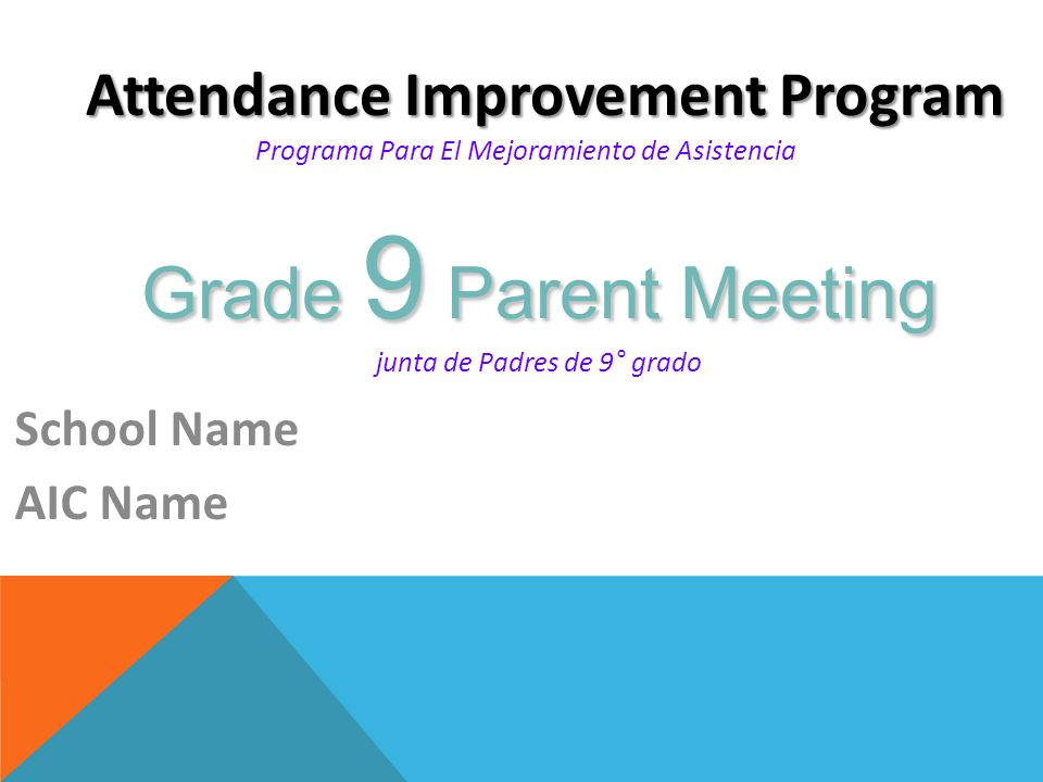 Attendance + Grades = Success Asistencia + Grados= Éxito Why Does This Law Exist.