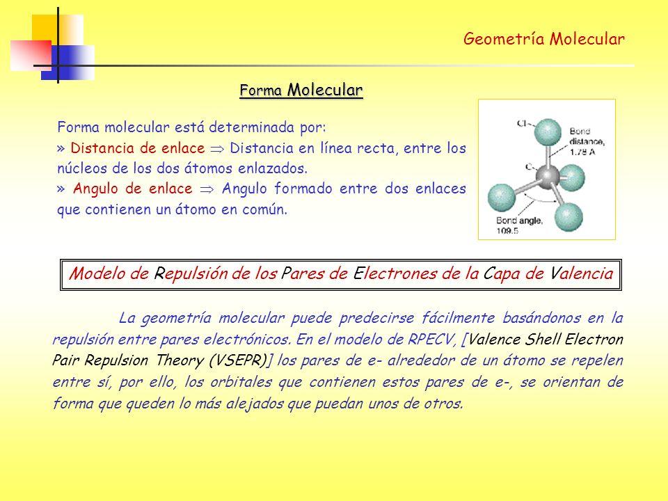 Geometría Molecular Forma molecular está determinada por: » Distancia de enlace Distancia en línea recta, entre los núcleos de los dos átomos enlazados.