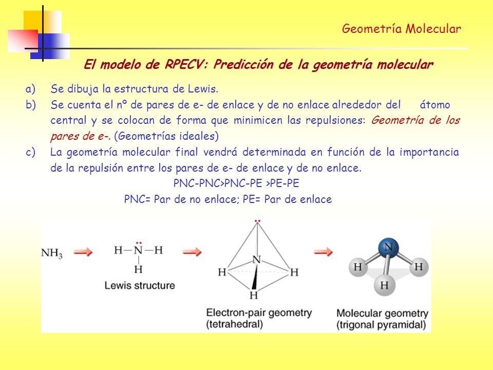 Geometría Molecular El modelo de RPECV: Predicción de la geometría molecular a) Se dibuja la estructura de Lewis.
