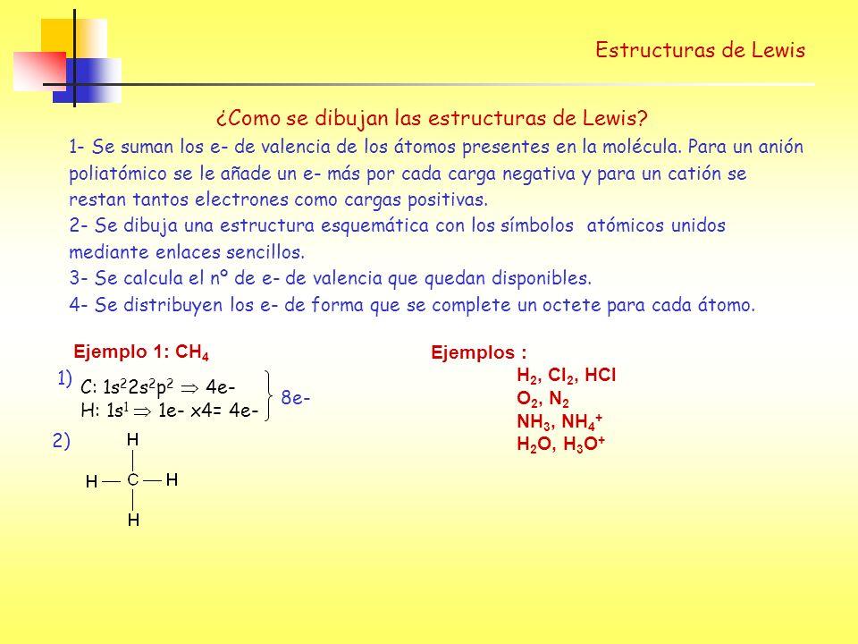 Estructuras de Lewis Ejemplo 3 : SO 2 S: 3s 2 p 4 6e- O: 2s 2 p 4 6e-x2 = 12 + 4 cargas neg.