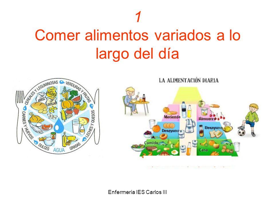 Enfermería IES Carlos III 1 Comer alimentos variados a lo largo del día Merienda Almuerzo Desayuno Comida Cena