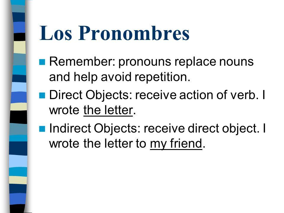 Direct Object Pronouns SingularPlural Lo - it, him (masculine)Los - them (masculine) La - it, her (feminine)Las - them (feminine)