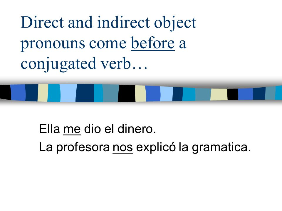 Direct and indirect object pronouns come before a conjugated verb… Ella me dio el dinero. La profesora nos explicó la gramatica.