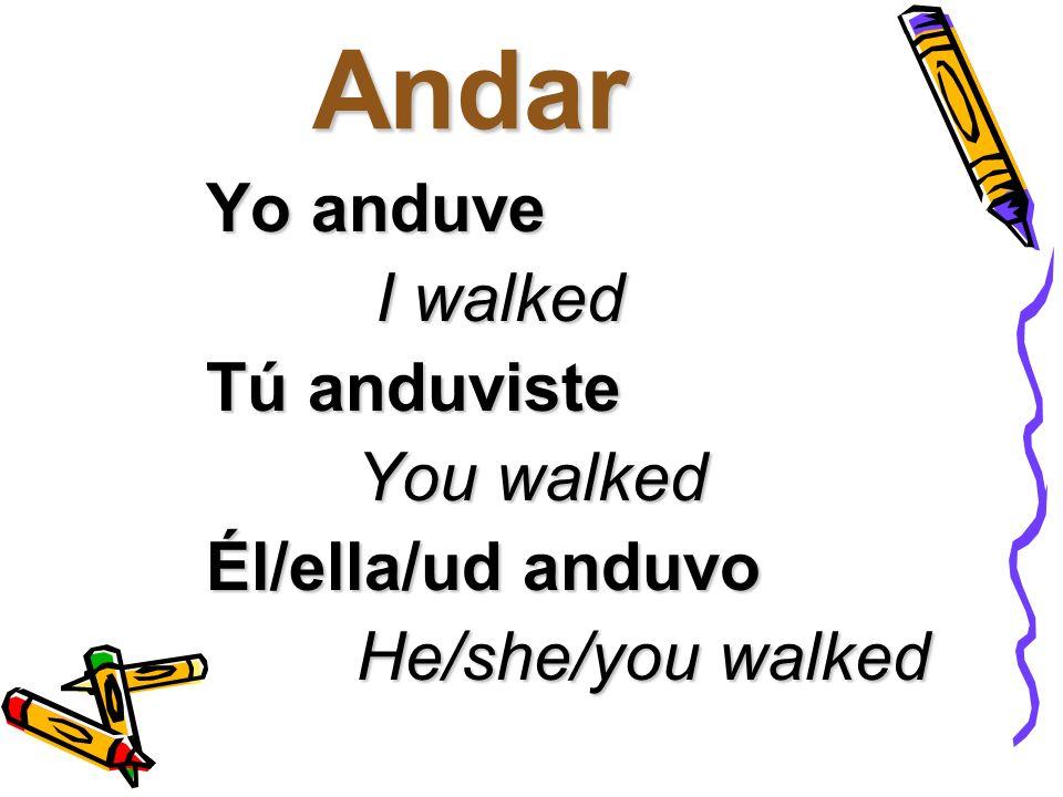 Andar Nosotros anduvimos We walked We walked Vosotros anduvisteis You all walked You all walked Ellos/ellas/uds anduvieron They/you walked They/you walked