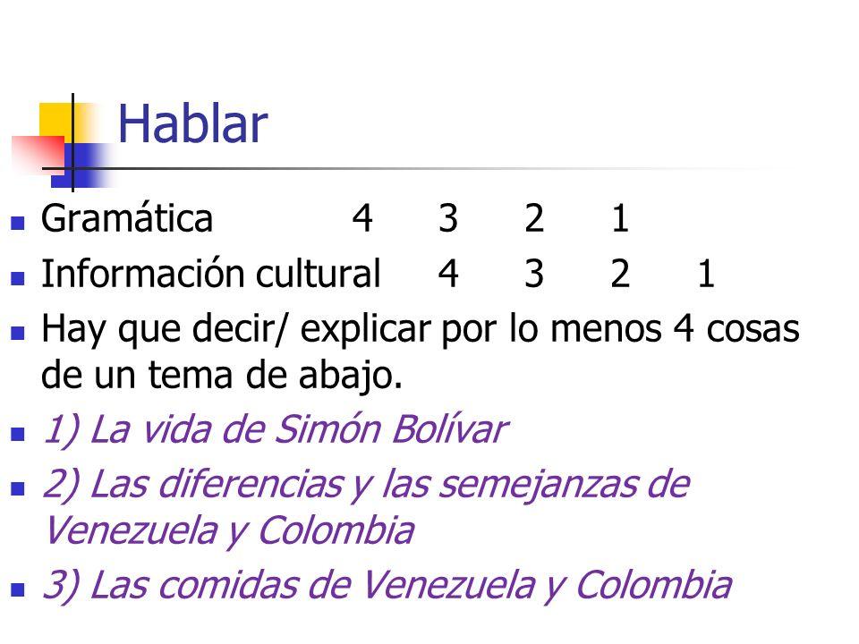 Hablar Gramática 4321 Información cultural 4321 Hay que decir/ explicar por lo menos 4 cosas de un tema de abajo. 1) La vida de Simón Bolívar 2) Las d