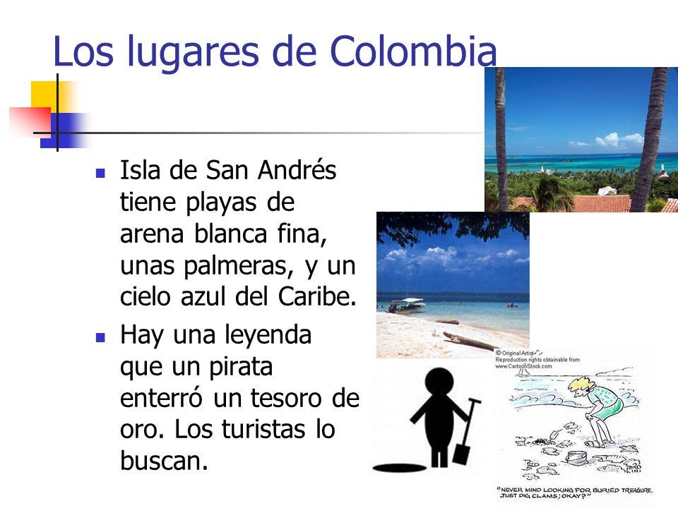 Los lugares de Colombia Isla de San Andrés tiene playas de arena blanca fina, unas palmeras, y un cielo azul del Caribe. Hay una leyenda que un pirata