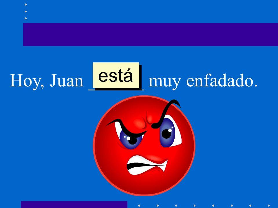 Hoy, Juan ______ muy enfadado. está