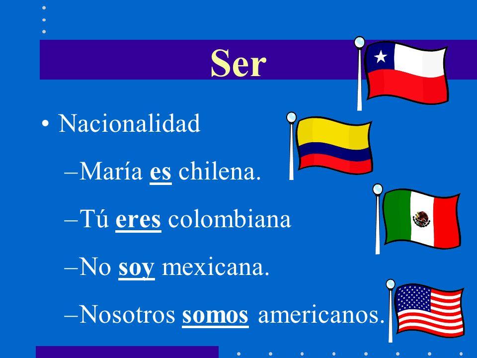 Ser Nacionalidad –María es chilena.–Tú eres colombiana –No soy mexicana.