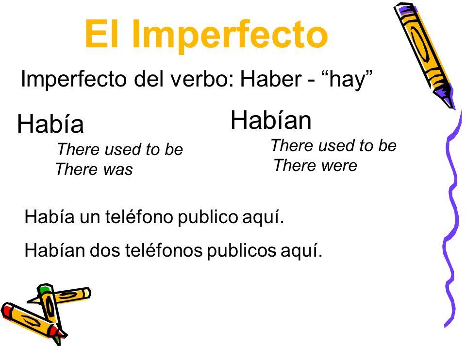 El Imperfecto Habían There used to be There were Había There used to be There was Imperfecto del verbo: Haber - hay Había un teléfono publico aquí. Ha