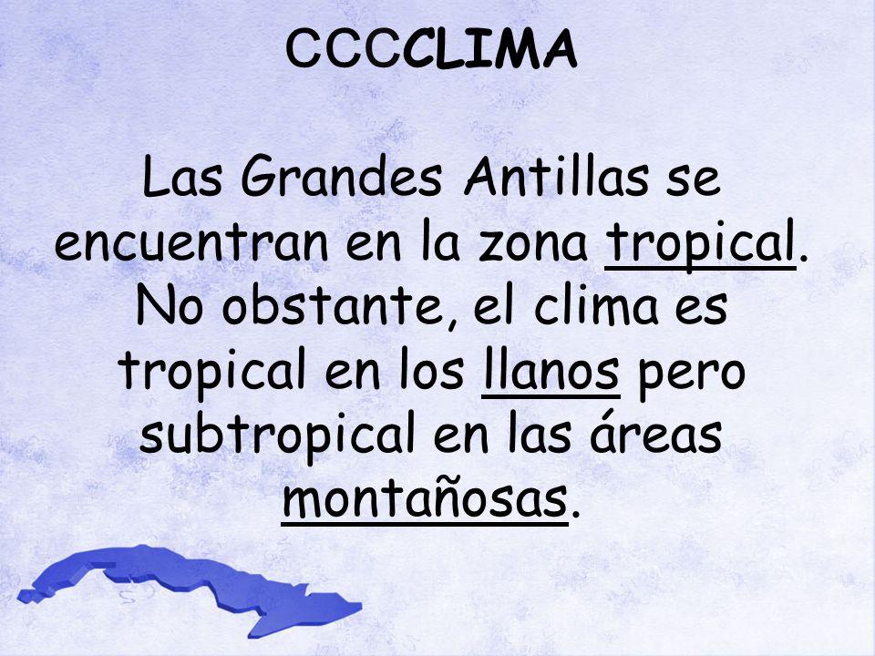 CCC CLIMA Las Grandes Antillas se encuentran en la zona tropical.