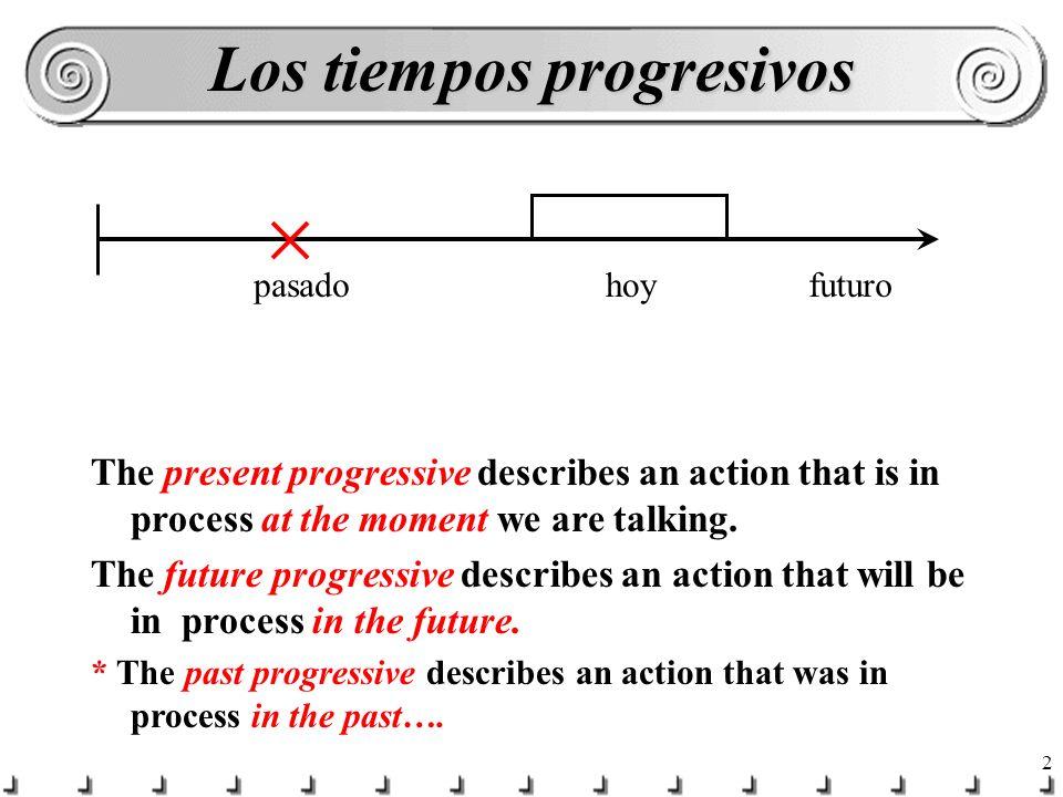 2 Los tiempos progresivos hoypasadofuturo The present progressive describes an action that is in process at the moment we are talking.