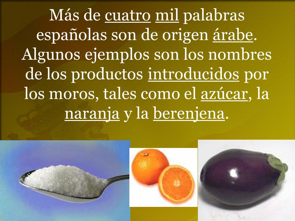 Más de cuatro mil palabras españolas son de origen árabe. Algunos ejemplos son los nombres de los productos introducidos por los moros, tales como el